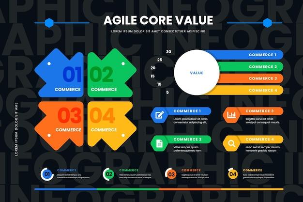 Modèle Infographique Agile Vecteur Premium