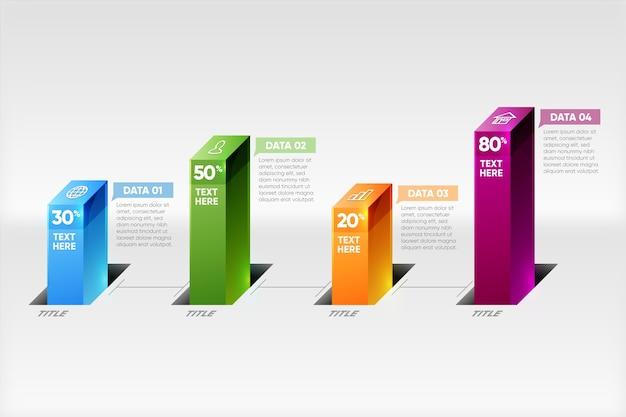 Modèle Infographique De Barres 3d Vecteur gratuit