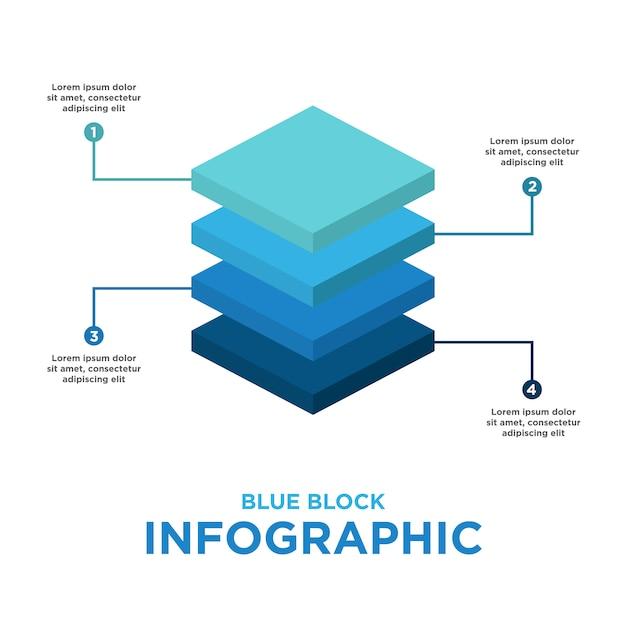 Modèle infographique bloc bleu Vecteur gratuit