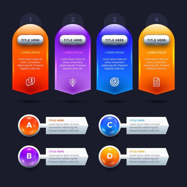 Modèle Infographique Brillant En Trois Dimensions Vecteur gratuit