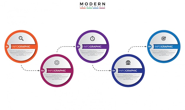 Modèle infographique de la chronologie 3d Vecteur Premium