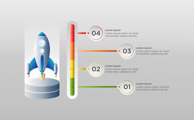 Modèle infographique coloré avec vaisseau spatial Vecteur Premium