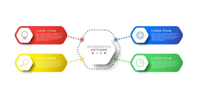 Modèle infographique de conception mise en page simple quatre étapes avec éléments hexagonaux Vecteur Premium