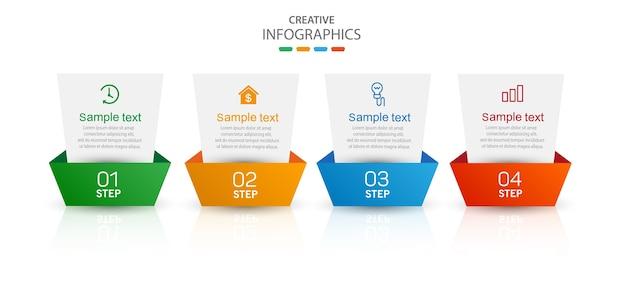 Modèle Infographique Créatif Avec Icônes Et 4 Options Ou étapes Vecteur Premium