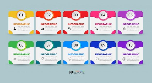 Modèle infographique en dix étapes. Vecteur Premium