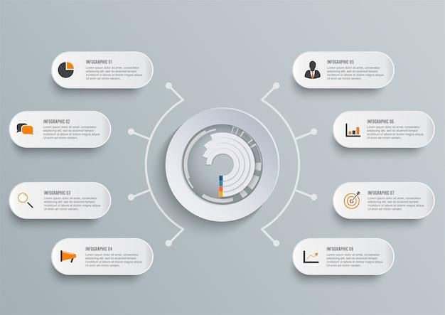 Modèle infographique avec du papier 3d Vecteur Premium