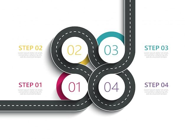 Modèle infographique d'emplacement de chemin routier sinueux avec une structure en plusieurs phases Vecteur Premium