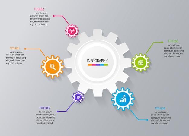 Modèle infographique de l'entreprise pour la présentation Vecteur Premium