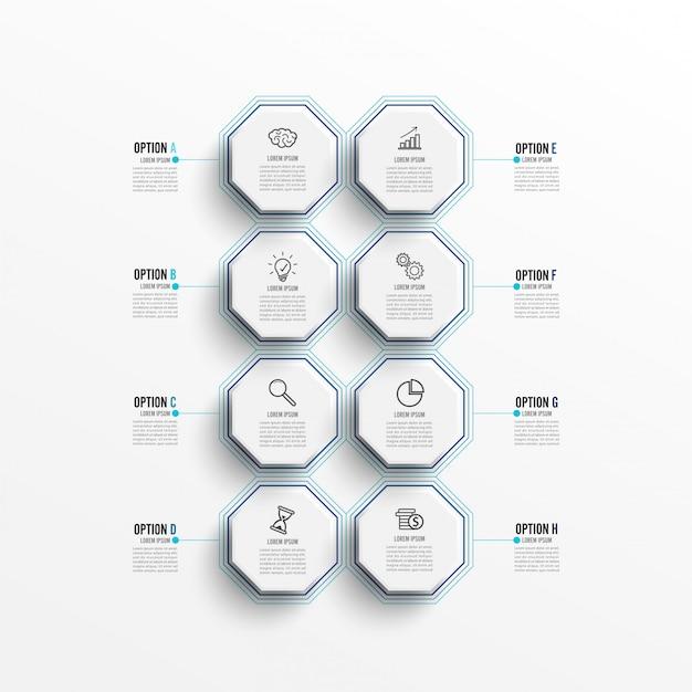 Modèle infographique avec étiquette en papier 3d, cercles intégrés. Vecteur Premium