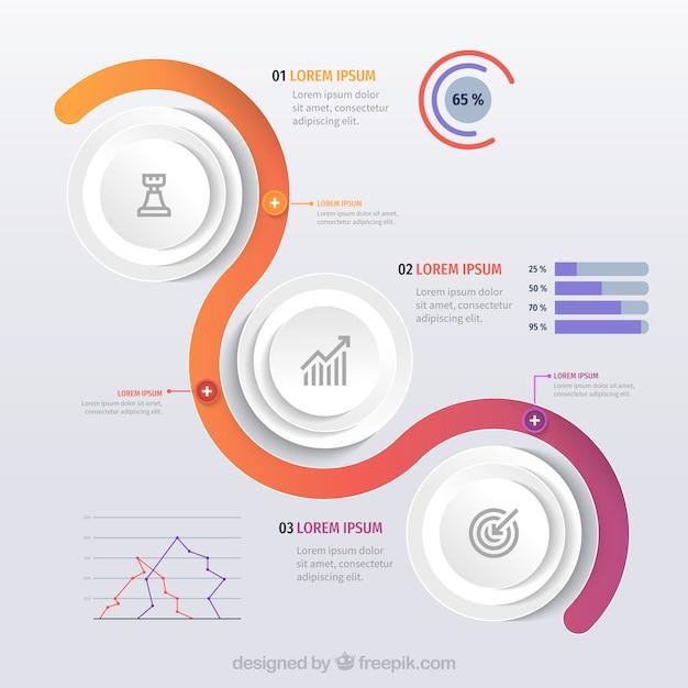 Modèle infographique avec des formes colorées Vecteur gratuit