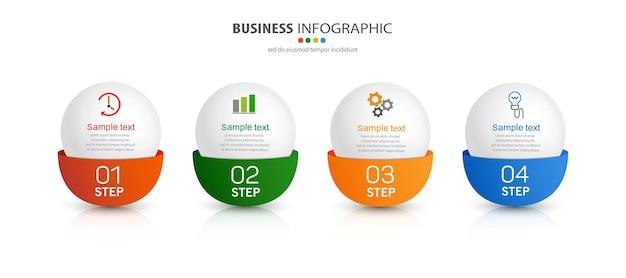 Modèle Infographique Avec Icônes Et 4 Options Ou étapes Vecteur Premium