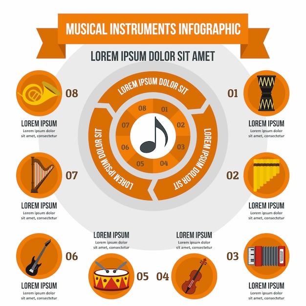 Modèle infographique d'instruments de musique, style plat Vecteur Premium
