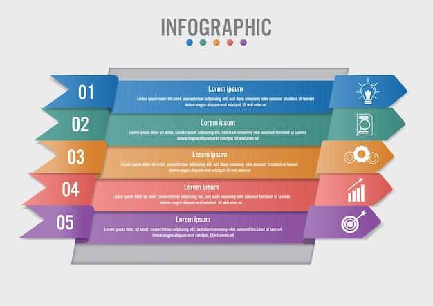 Modèle infographique métier avec forme de 5 flèches Vecteur Premium