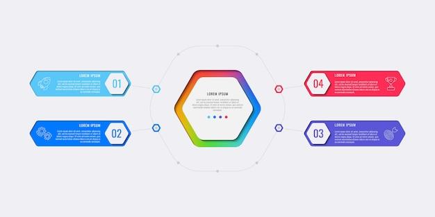 Modèle infographique de mise en page de conception simple quatre étapes avec éléments hexagonaux. Vecteur Premium