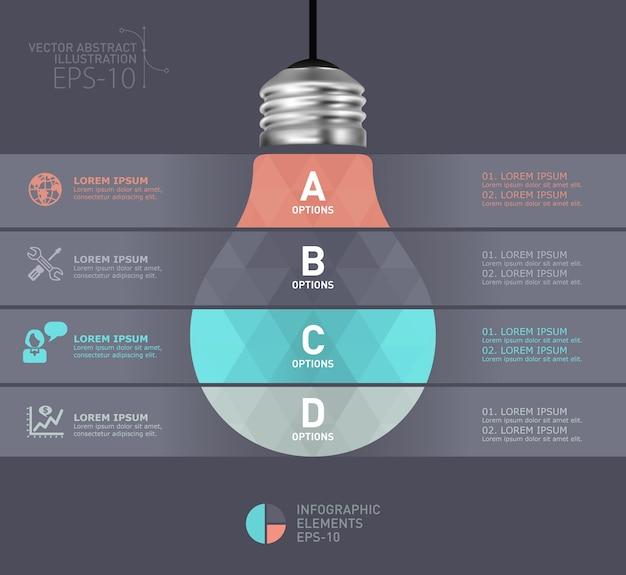 Modèle infographique moderne ampoule Vecteur Premium