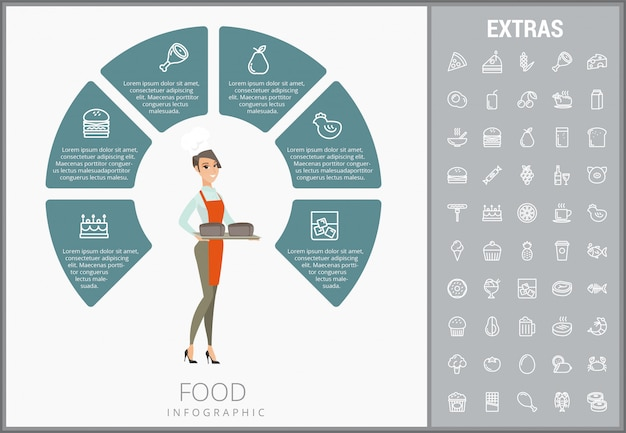 Modèle infographique de nourriture, des éléments et des icônes Vecteur Premium