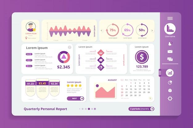 Modèle infographique de rapport trimestriel Vecteur Premium