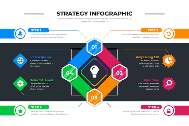 Modèle Infographique De Stratégie Vecteur Premium