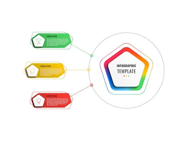 Modèle Infographique En Trois étapes Avec Pentagones Et éléments Polygonaux Vecteur Premium