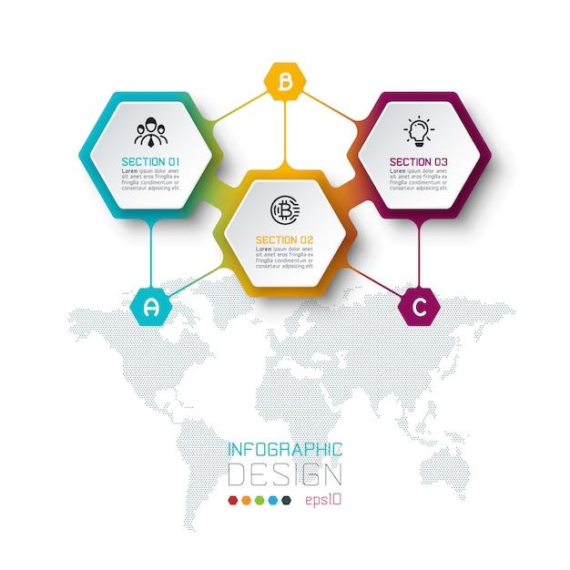 Modèle inforgraphic hexagone sur les arts graphiques vectoriels. Vecteur Premium