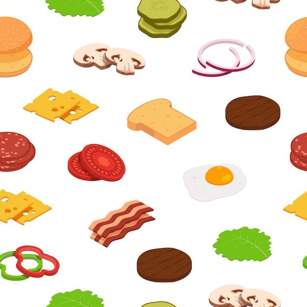 Modèle D'ingrédients Isométrique Burger Ou Illustration Vecteur Premium