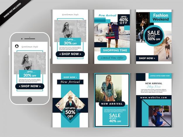 Modèle instagram histoires fashion Vecteur Premium