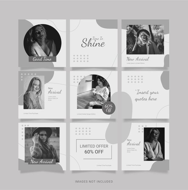 Modèle Instagram Mode Femmes Puzzle Feed Vecteur Premium