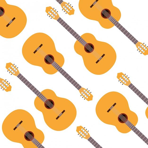 Modèle d'instrument de musique de guitare Vecteur Premium