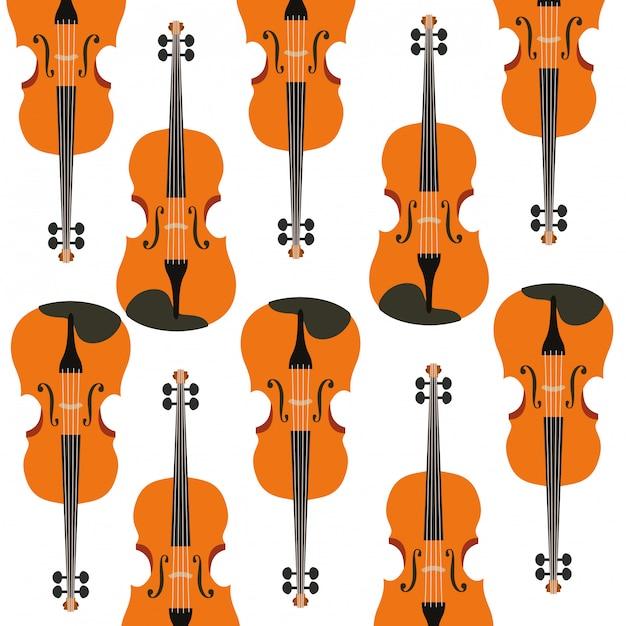 Modèle d'instrument de musique pour violon Vecteur Premium