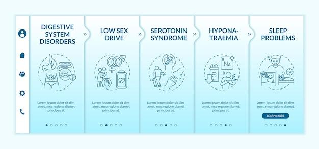 Modèle D'intégration Des Effets Secondaires Des Médicaments Antidépresseurs Vecteur Premium