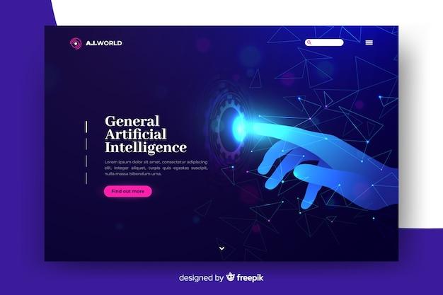 Modèle d'intelligence artificielle de page de destination Vecteur gratuit