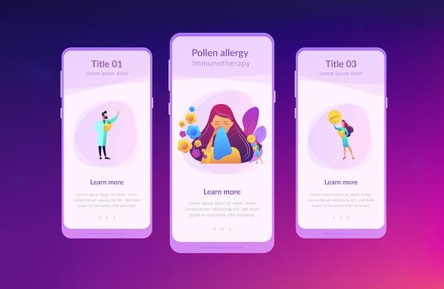 Modèle D'interface D'application D'allergie Saisonnière. Vecteur Premium