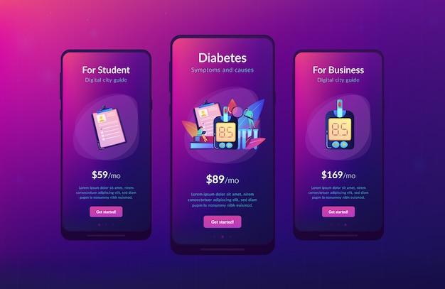 Modèle D'interface De L'application Diabète Sucré. Vecteur Premium