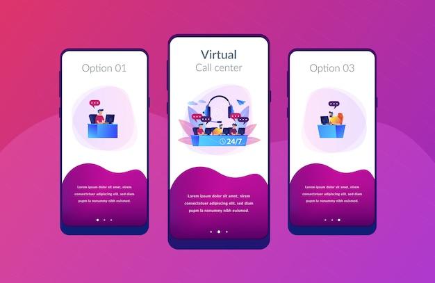 Modèle d'interface de l'application du centre d'appels Vecteur Premium
