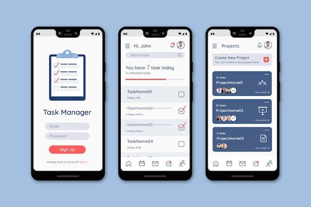 Modèle D'interface D'application De Gestion Des Tâches Vecteur Premium