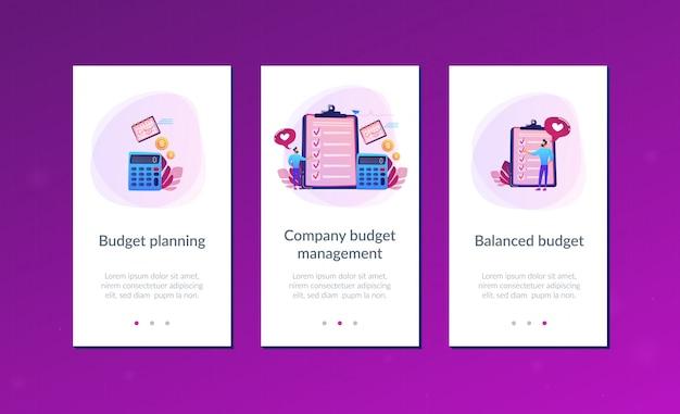 Modèle d'interface d'application de planification budgétaire Vecteur Premium