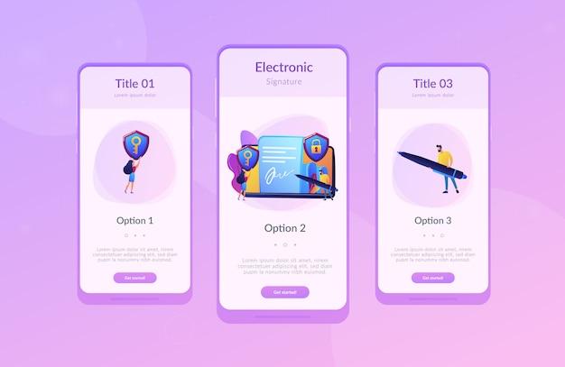 Modèle d'interface d'application de signature électronique Vecteur Premium