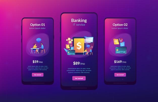 Modèle d'interface d'application de système bancaire central Vecteur Premium