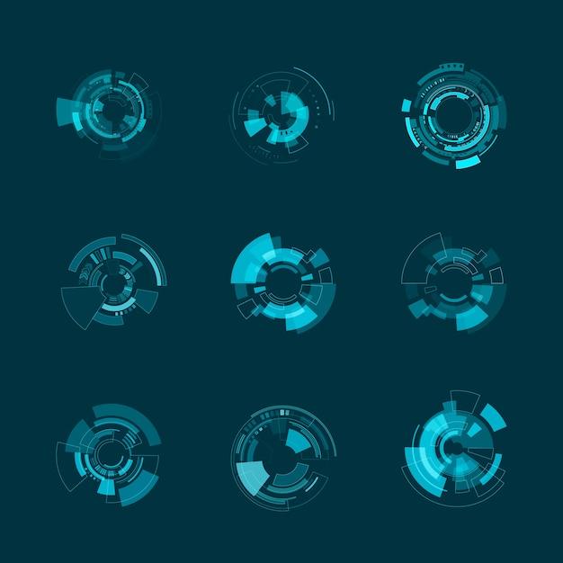 Modèle D'interface Futuriste Hud. Panneaux Hud Et Formes D'hologramme. Illustration Vecteur Premium
