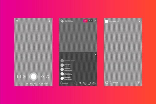 Modèle D'interface D'histoires Instagram Et Fond Dégradé Vecteur gratuit