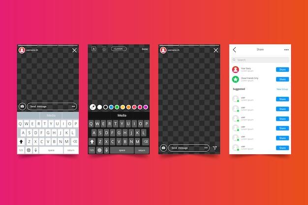 Modèle D'interface D'histoires Instagram Vecteur gratuit