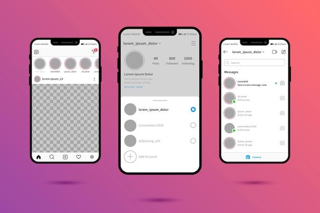 Modèle D'interface Pour Le Profil Instagram Vecteur gratuit