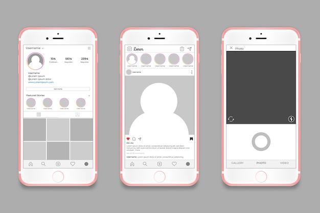 Modèle D'interface De Profil Instagram Avec Concept De Téléphone Vecteur gratuit