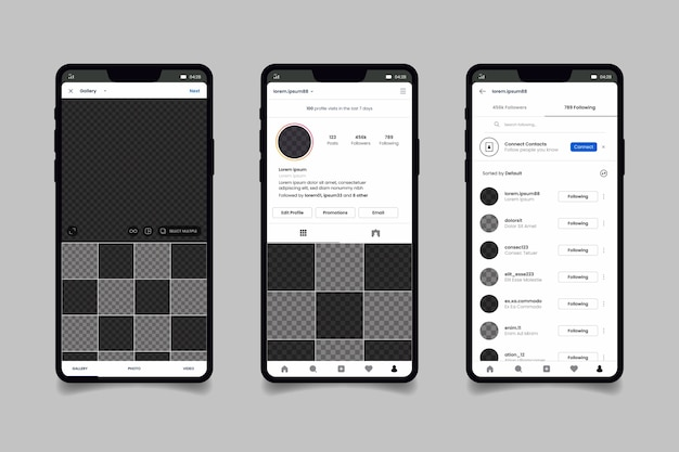Modèle D'interface De Profil Instagram Avec Téléphone Portable Vecteur gratuit