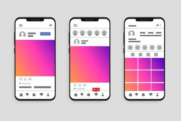 Modèle D'interface De Profil Instagram Avec Téléphone Vecteur gratuit