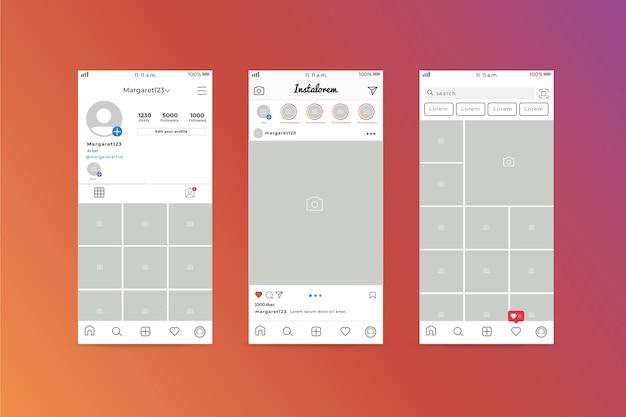 Modèle D'interface De Profil Instagram Vecteur gratuit