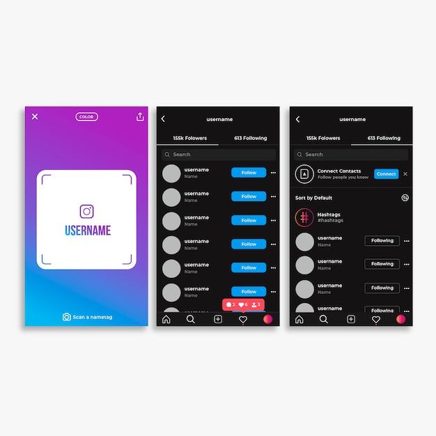 Modèle D'interface De Profil Instagram | Vecteur Gratuite