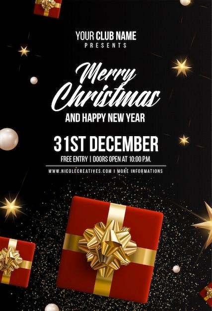 Modèle d'invitation, affiche ou flyer noir joyeux noël & bonne année noir Vecteur Premium