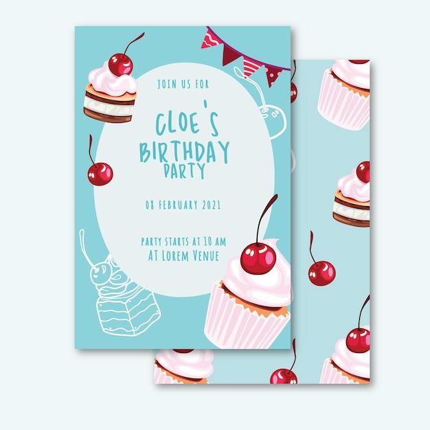 Modèle D'invitation D'anniversaire Dans Un Style Plat Avec Mignon Vecteur Premium