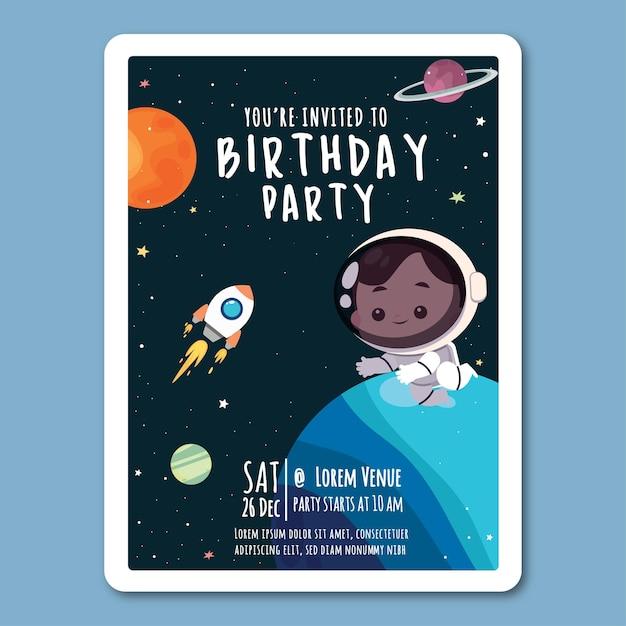 Modèle D'invitation D'anniversaire Dans Un Style Plat Vecteur Premium